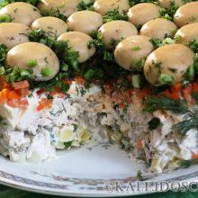 """Готовим сытный и вкусный салат с грибами """"Дубок"""""""