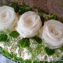 "Салат ""Три белых розы""."